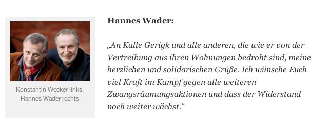 Hannes Wader setzt sich für Kalle ein (Screenshot von www.zwangsraeumung-verhindern.de)