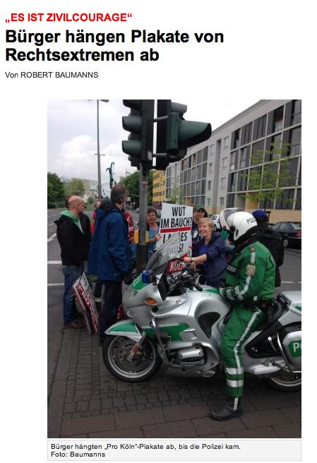 Bürger hängen Pro Köln Wahlplakate ab © Screenshot Express