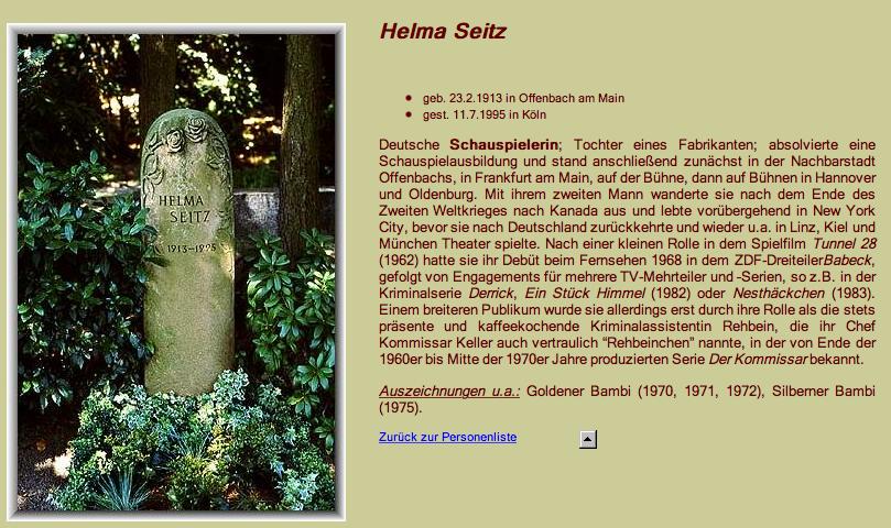 Grab von Helma Seitz auf Melaten Friedhof