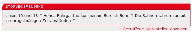 Hohes Fahrgastaufkommen (c) Screenshot kvb-koeln.de