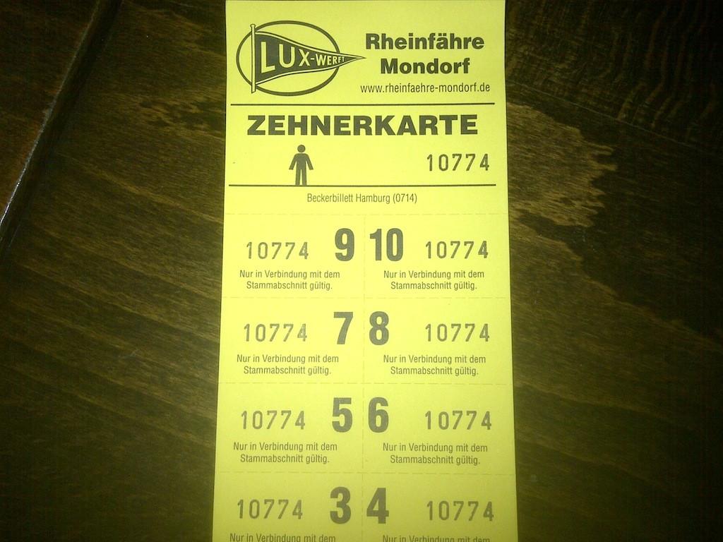 Tickets für die Mondorfer Fähre 2016