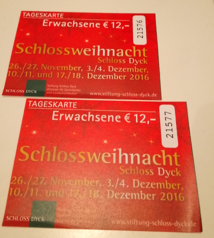 Eintrittskarten Weihnachtsmarkt Schloss Dyck