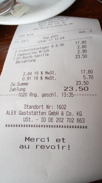 Rechnung in der Brasserie am Adolf-Platz