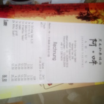 Rechnung im Ah Un Restaurant