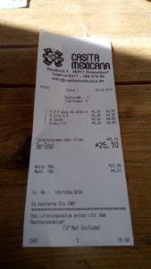 Rechnung vom Casita Mexicana: 25 Euro für zwei Personen