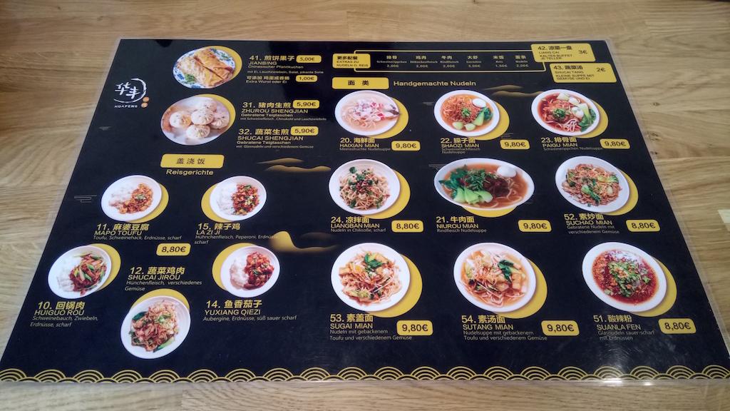 Speisekarte im Hua Feng